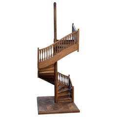 19th Century Miniature Antique Spiral Staircase Architectural Model