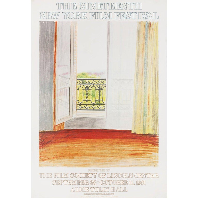 Original 1981 U.S. one sheet poster by David Hockney for the 1963 festival New York Film Festival. Fine condition, rolled. Please note: the size is stated in inches and the actual size can vary by an inch or more.
