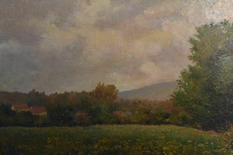19th oil on canvas landscape by Paul Huet (1803-1869) in wood frame and golden stucco signature bottom right. Interior dimensions 61 x 44 cm external dimensions 81 cm x 63 cm.