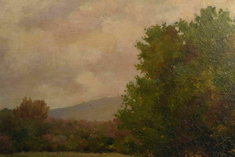 19th Oil On Canvas Landscape By Paul Huet In Fair Condition For Sale In Marseille, FR