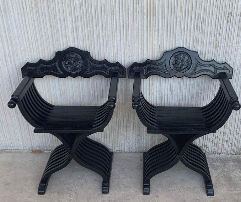 19th Century Pair of Carved Walnut Folding Scissors Savonarola Bench or Settle For Sale 3