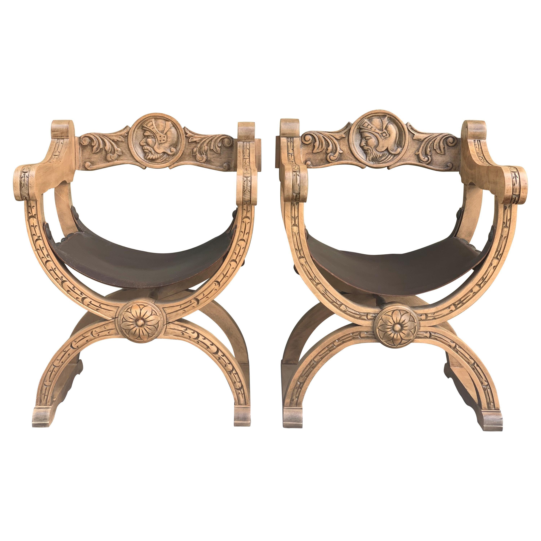 19th Century Pair of Carved Walnut Leather Savonarola Bench or Settee