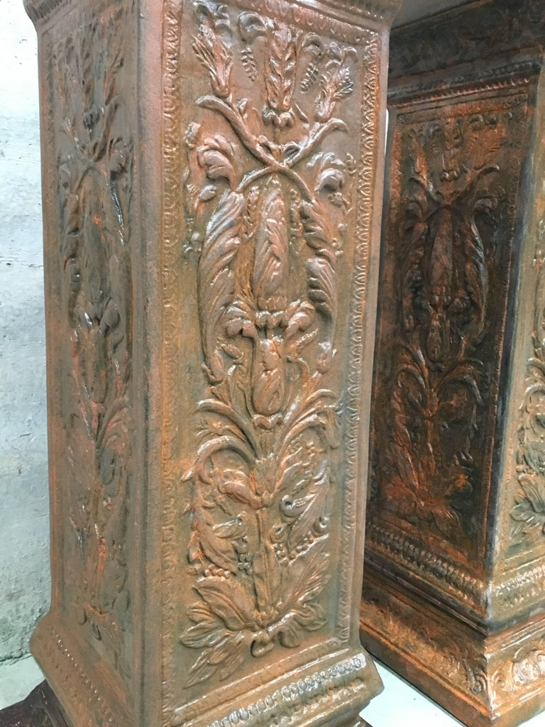 19th Pair of Columns or Pedestals in Glazed Handmade Terracotta For Sale 4