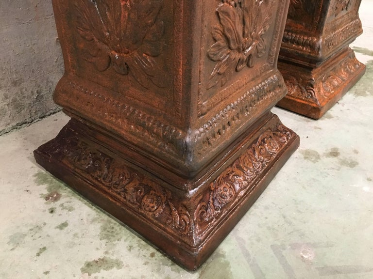 19th Pair of Columns or Pedestals in Glazed Handmade Terracotta For Sale 6