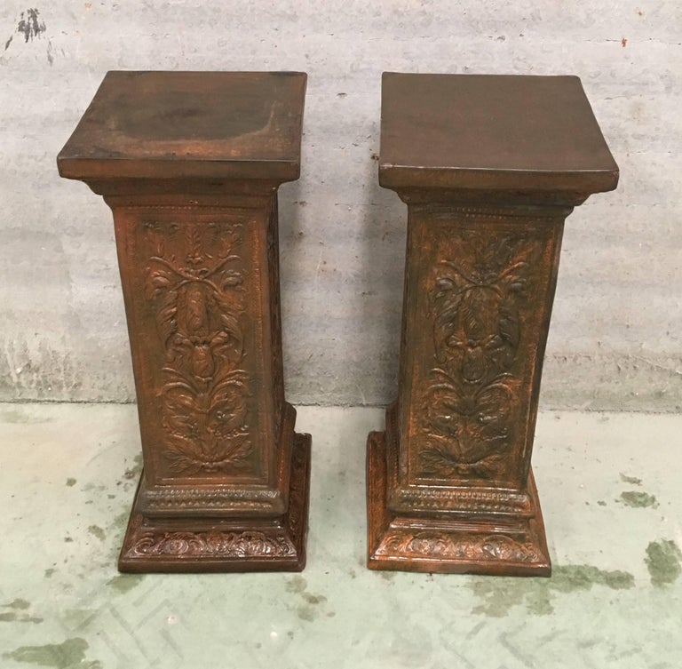 Neoclassical Revival 19th Pair of Columns or Pedestals in Glazed Handmade Terracotta For Sale