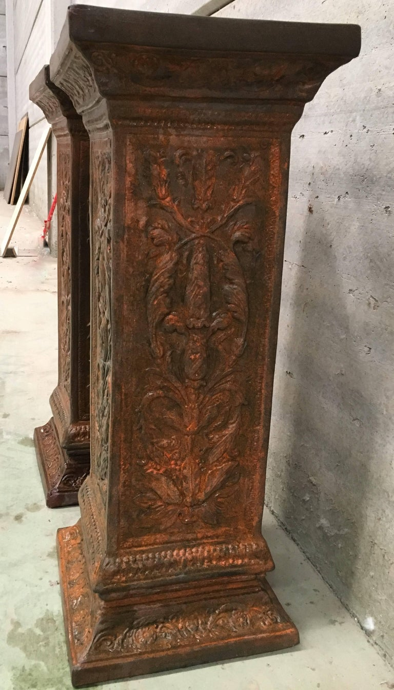 19th Pair of Columns or Pedestals in Glazed Handmade Terracotta For Sale 1