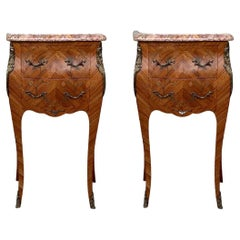 19th Pair of French Marquetry Nightstands with Roses and Marble Tops