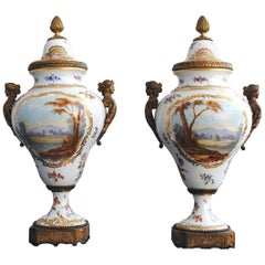 19th Century Pair of Gilded Bronze and Porcelain Urn From Sèvres