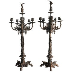 19th Pair of Large Bronze Candlesticks by Jules Moigniez