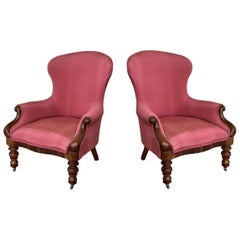 19th Century Pair of Louis XV Bergère Armchairs in Red Upholstered with Wheels