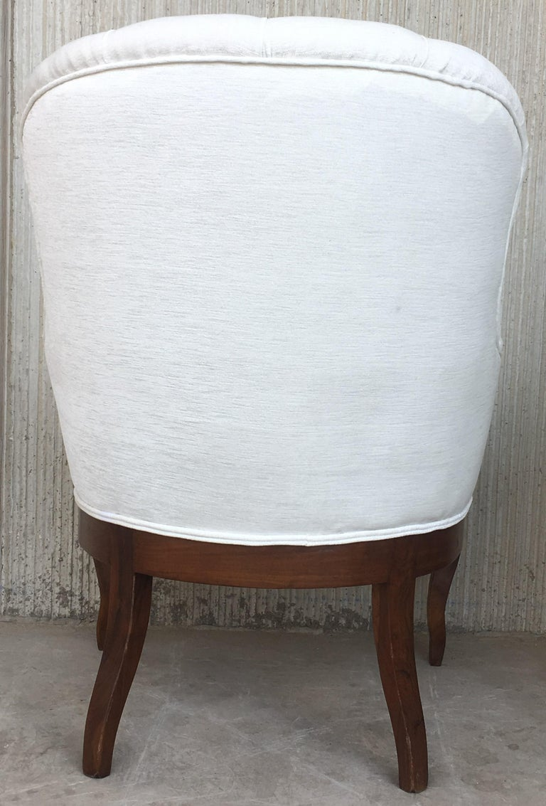 19th Pair of Louis XV Bergère Armchairs in White Velvet For Sale 6