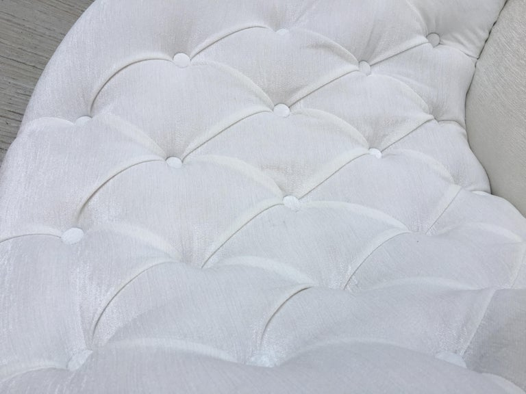 19th Pair of Louis XV Bergère Armchairs in White Velvet For Sale 7