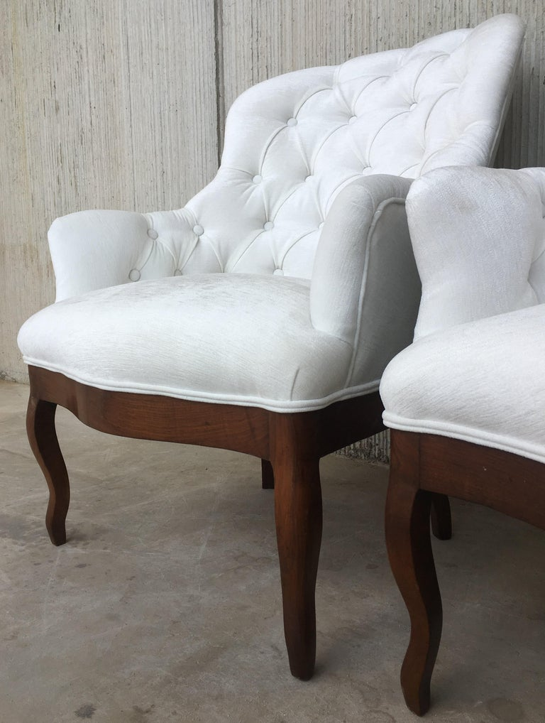19th pair of Louis XV bergère armchairs in white velvet Recently upholstered Really very comfortable.  Seat interior measurements:  Wide 19.29in Deep 20.47in.