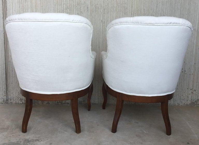 19th Century 19th Pair of Louis XV Bergère Armchairs in White Velvet For Sale