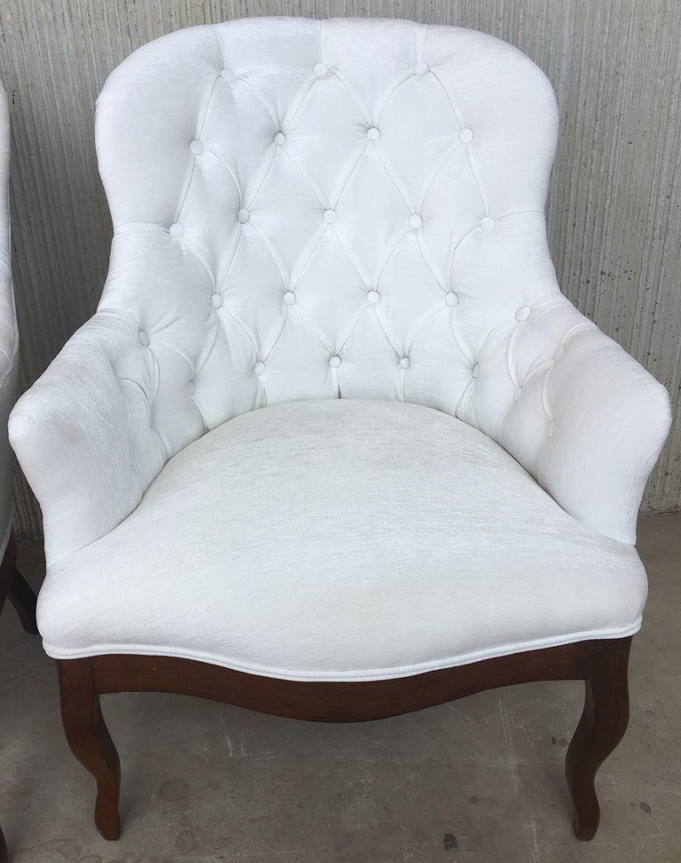19th Pair of Louis XV Bergère Armchairs in White Velvet For Sale 2