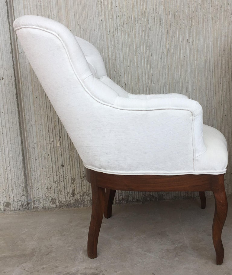 19th Pair of Louis XV Bergère Armchairs in White Velvet For Sale 3