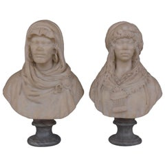 19th Pair of Oriental Busts in Carrara Marble by Vicenzo Ramaschiello