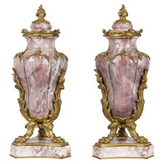 19th Pair of Pink & Violet Marble Vases in the French Louis XV Style
