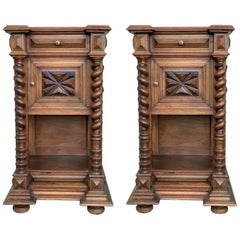Pair of Solid Carved Brutalist French Nightstands with Solomonic Columns