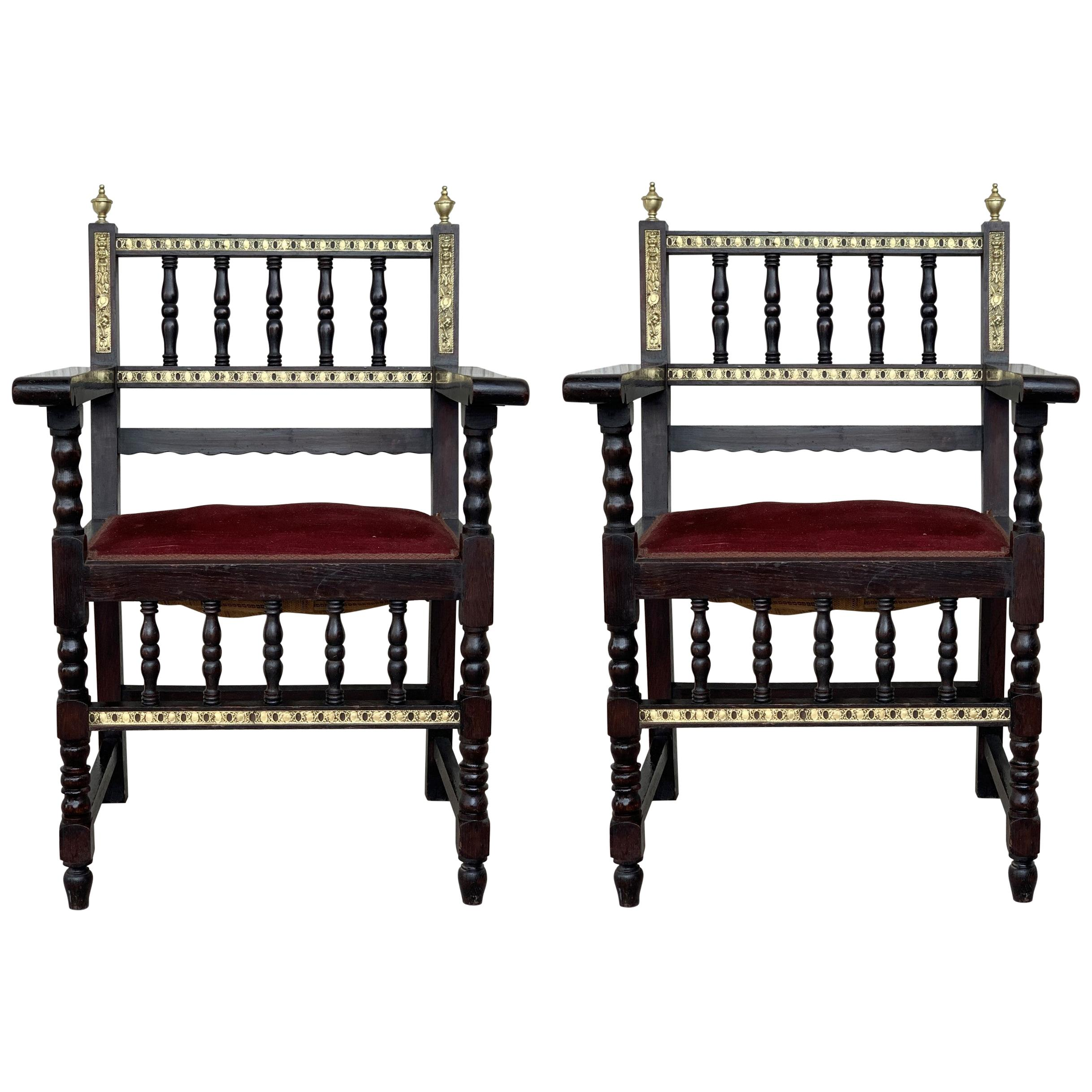 Pair of Spanish Armchairs with Bronze Details and Red Velvet Upholstery