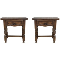 19th Century Pair of Spanish Nightstands, Side Tables with Carved Drawer
