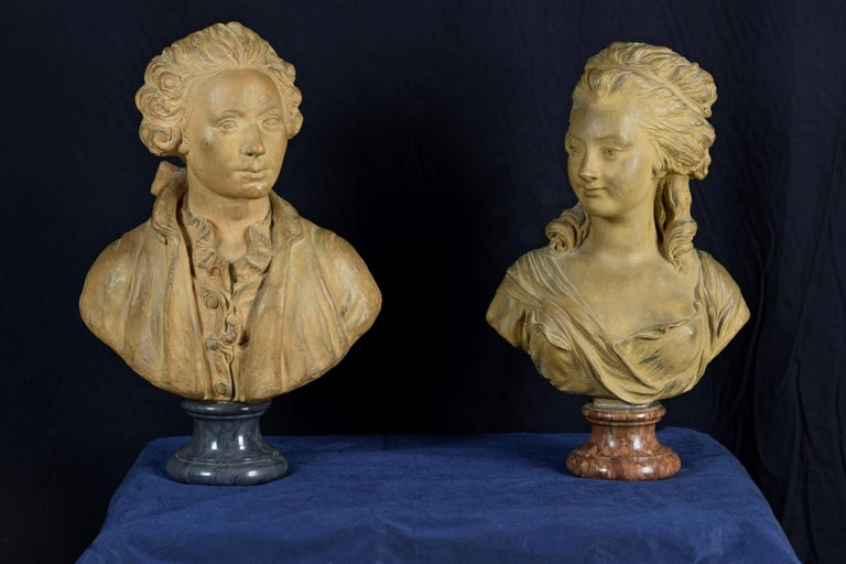 19th Century, Pair of Terracotta French Busts For Sale 6