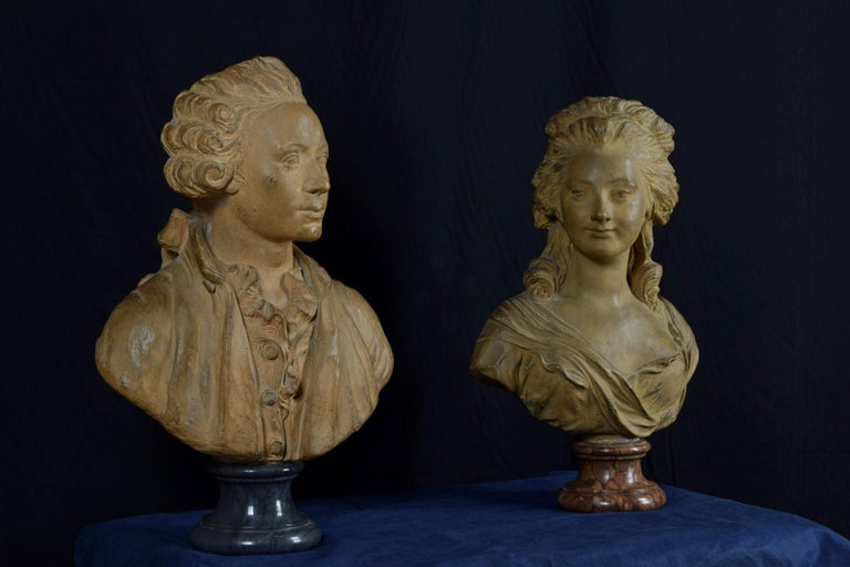19th Century, Pair of Terracotta French Busts For Sale 7