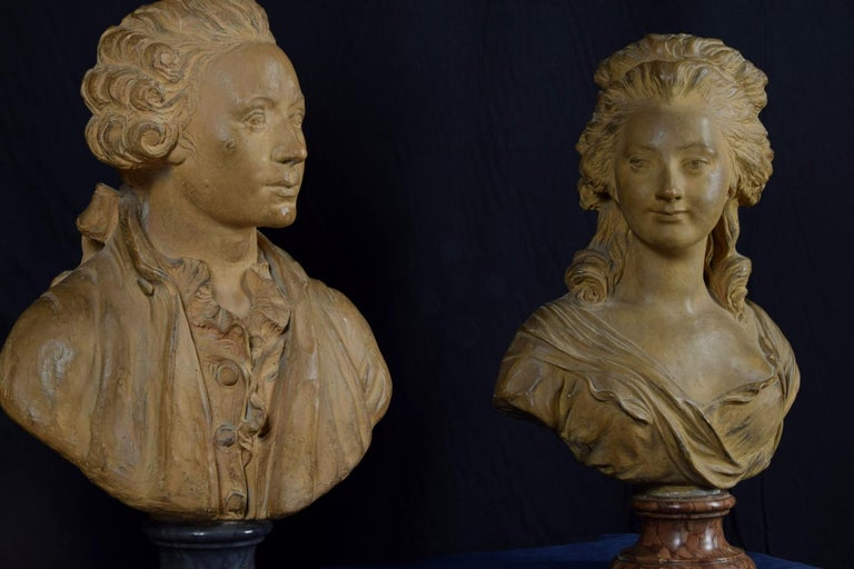 19th Century, Pair of Terracotta French Busts For Sale 8