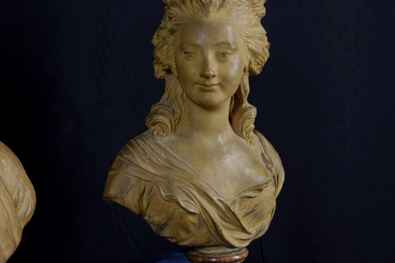 19th Century, Pair of Terracotta French Busts For Sale 10
