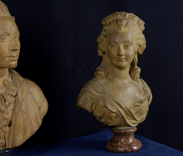 19th Century, Pair of Terracotta French Busts For Sale 11
