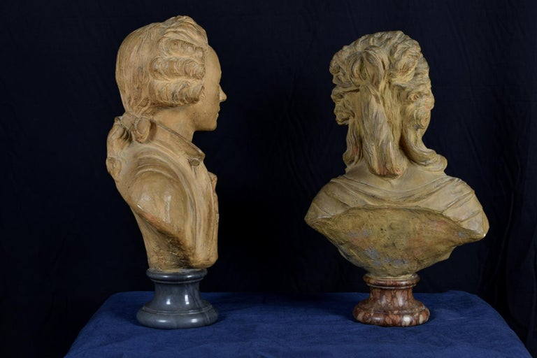 19th Century, Pair of Terracotta French Busts For Sale 14