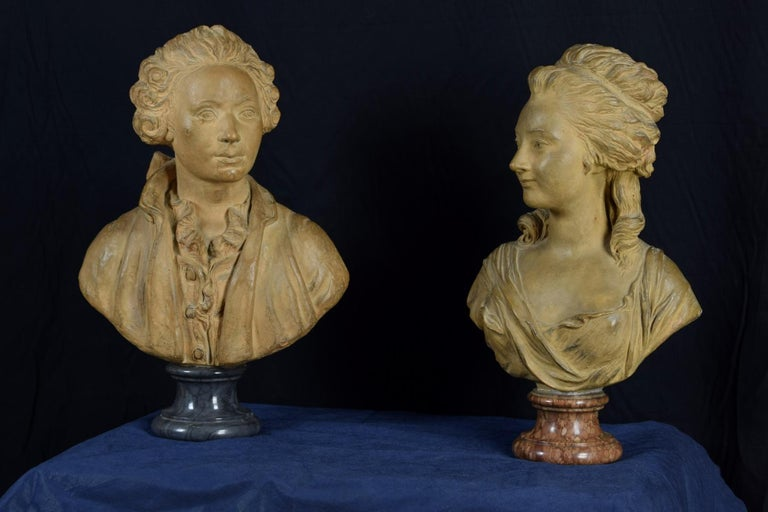 Louis XV 19th Century, Pair of Terracotta French Busts For Sale