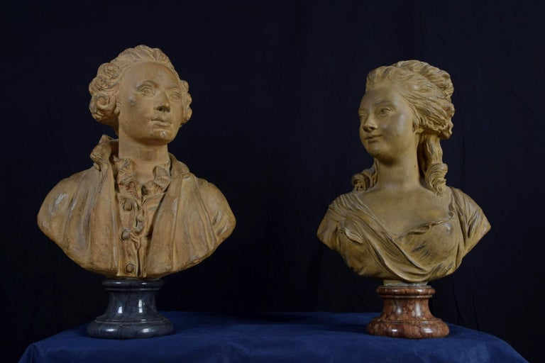Molded 19th Century, Pair of Terracotta French Busts For Sale