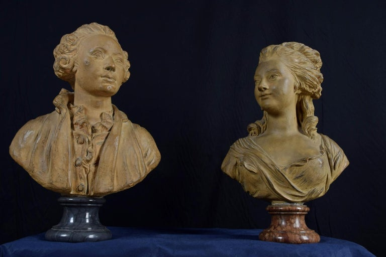 19th Century, Pair of Terracotta French Busts In Good Condition For Sale In , IT