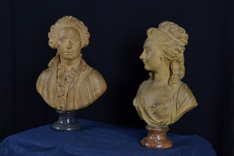 19th Century, Pair of Terracotta French Busts For Sale 1