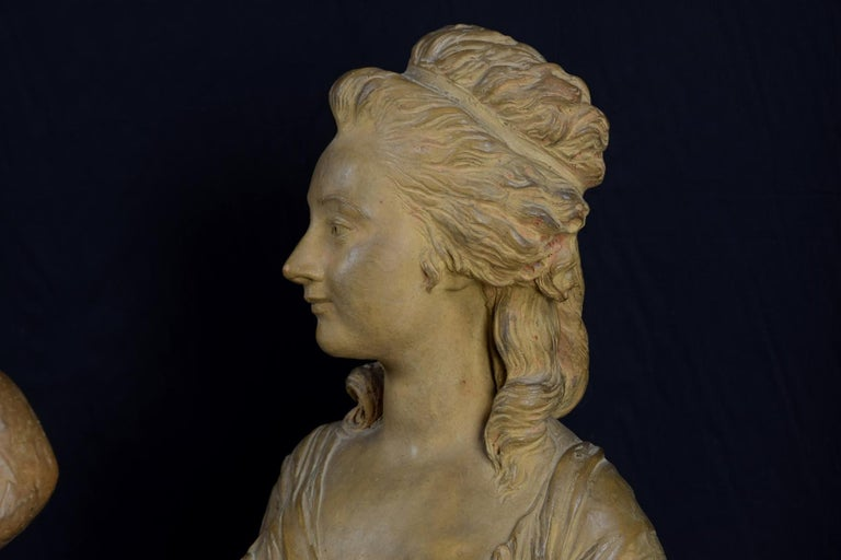 19th Century, Pair of Terracotta French Busts For Sale 2