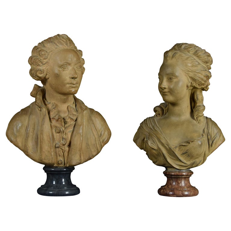 19th Century, Pair of Terracotta French Busts For Sale