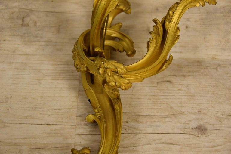 19th Century Pair of Three-Light Gilt Bronze French Louis XV Style Appliques For Sale 9