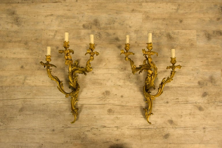 19th Century Pair of Three-Light Gilt Bronze French Louis XV Style Appliques For Sale 4