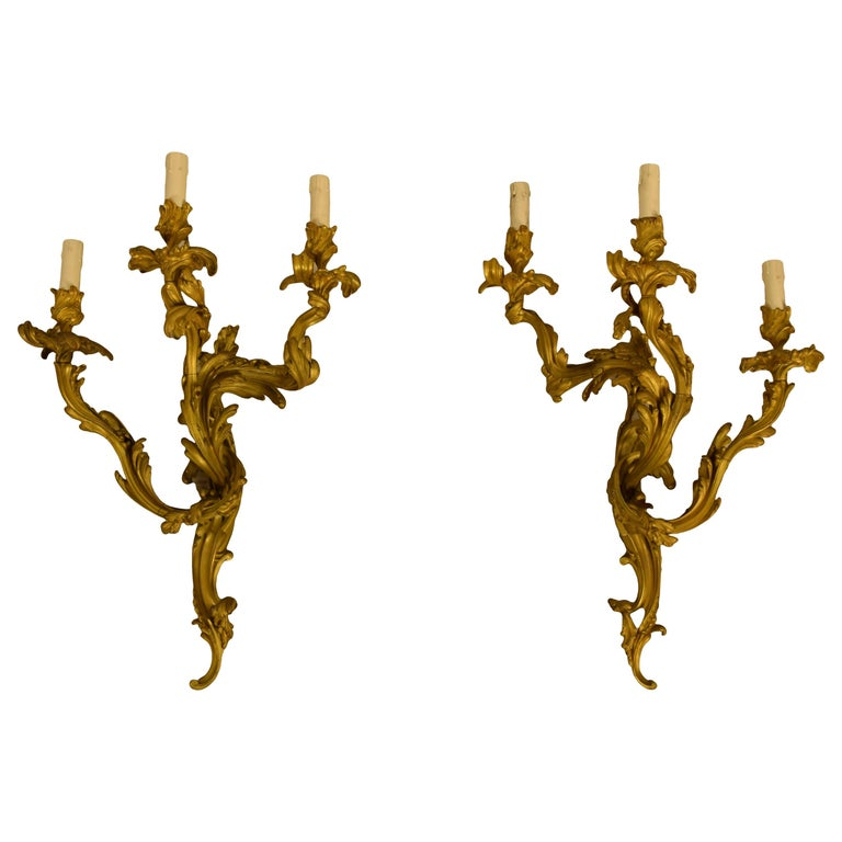 19th Century Pair of Three-Light Gilt Bronze French Louis XV Style Appliques For Sale