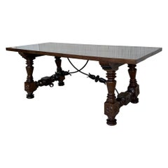 Refectory Spanish Dining or Desk Table with Lyre Legs and Iron Stretcher