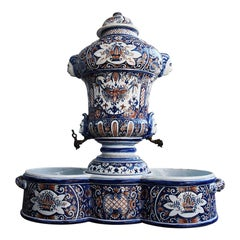 19th Rouen Style Faience Ribbed Wall Cistern and Basin