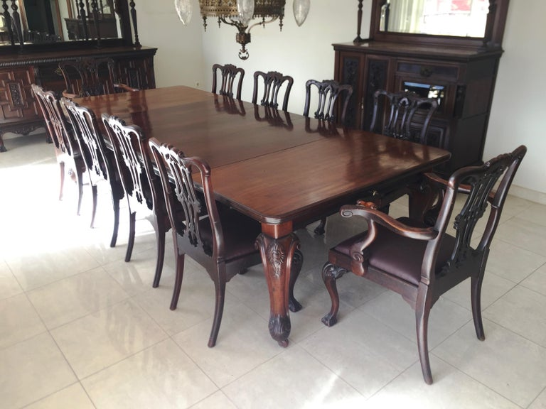Chippendale Ball Claw Mahogany Wood Dining Armchairs And Chairs 19th Century 19