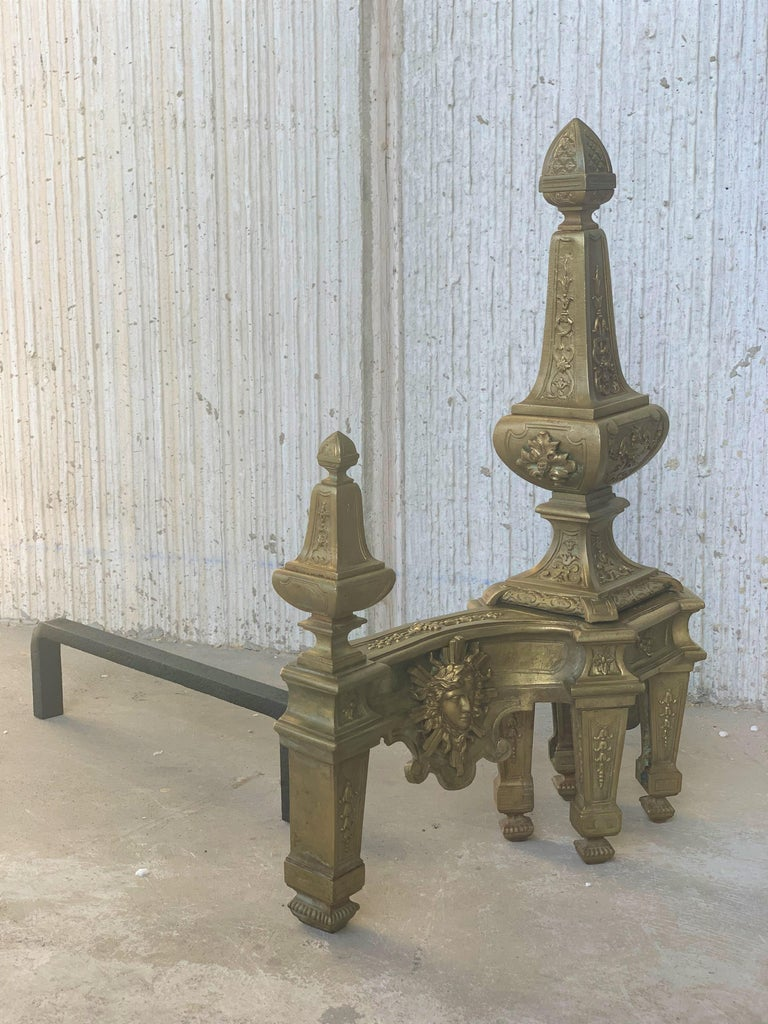 19th Century Set of Antique Andirons or Firedogs in Bronze and Iron For Sale 2