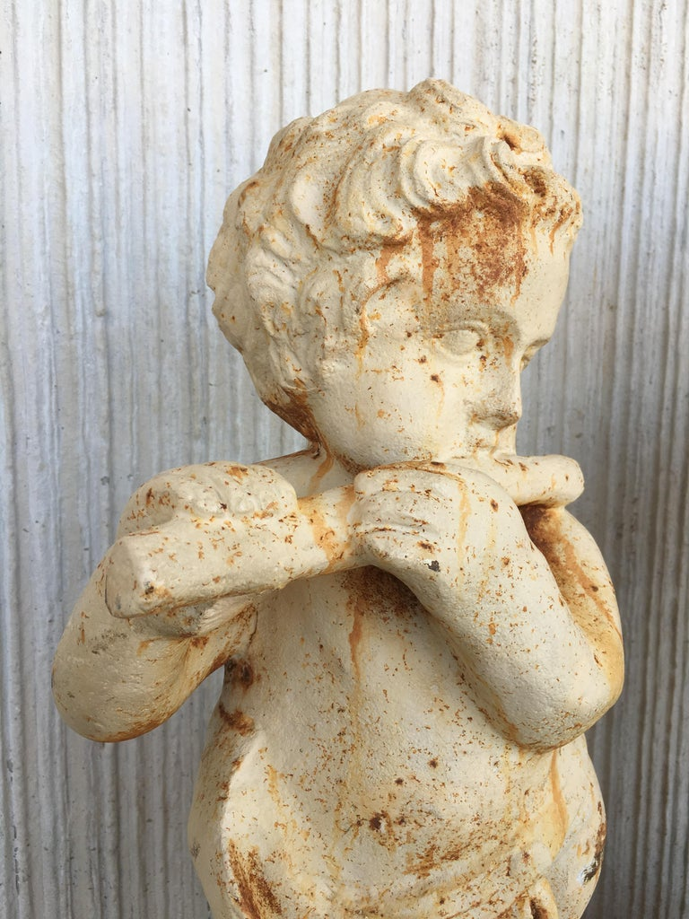 19th Set of Four Cast Iron Fiske Cherubs Boy Garden Statues with Stands For Sale 1