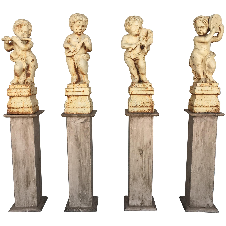 19th Set of Four Cast Iron Fiske Cherubs Boy Garden Statues with Stands
