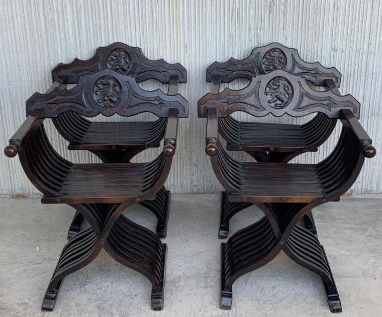 Baroque 19th Set of Four Century Carved Walnut Folding Scissors Savonarola Bench/Settle