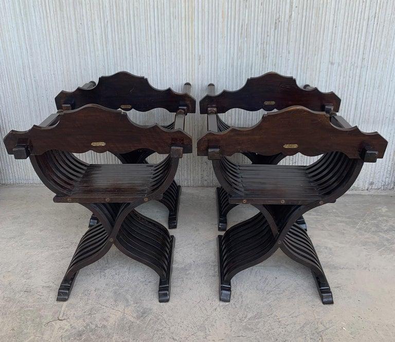 19th Century 19th Set of Four Century Carved Walnut Folding Scissors Savonarola Bench/Settle