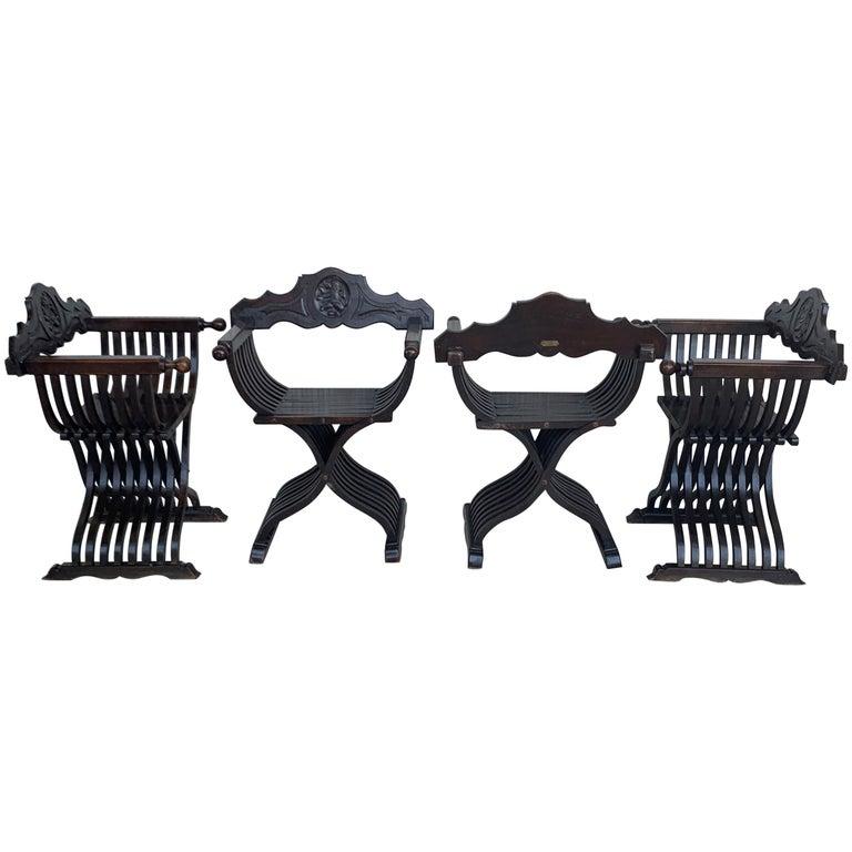 19th Set of Four Century Carved Walnut Folding Scissors Savonarola Bench/Settle