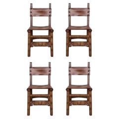19th Set of Four Spanish Carved Chairs with Leather Seat and Back